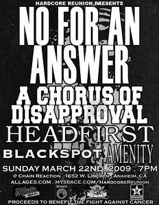 No For An Answer Tour Flyer